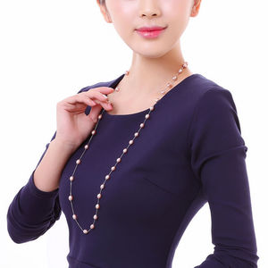 Image 2 - DMCNFP007 7 8mm Long Pearl Necklace 925 Sterling Silver Sweater Chain Necklace For Women