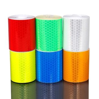 5cm x 3m taśma odblaskowa naklejki rowerowe taśma samoprzylepna wodoodporna noc ostrzeżenie o bezpieczeństwie pasek odblaskowy naklejki rowerowe tanie i dobre opinie Reflective PVC Reflective Stickers Green blue orange red silver yellow Honeycomb