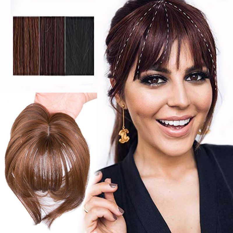 Czarny/jasny brązowy klip na grzywka treski dla kobiet grzywka włosy doczepiane Clip in syntetyczny wysokiej temperatury włókna