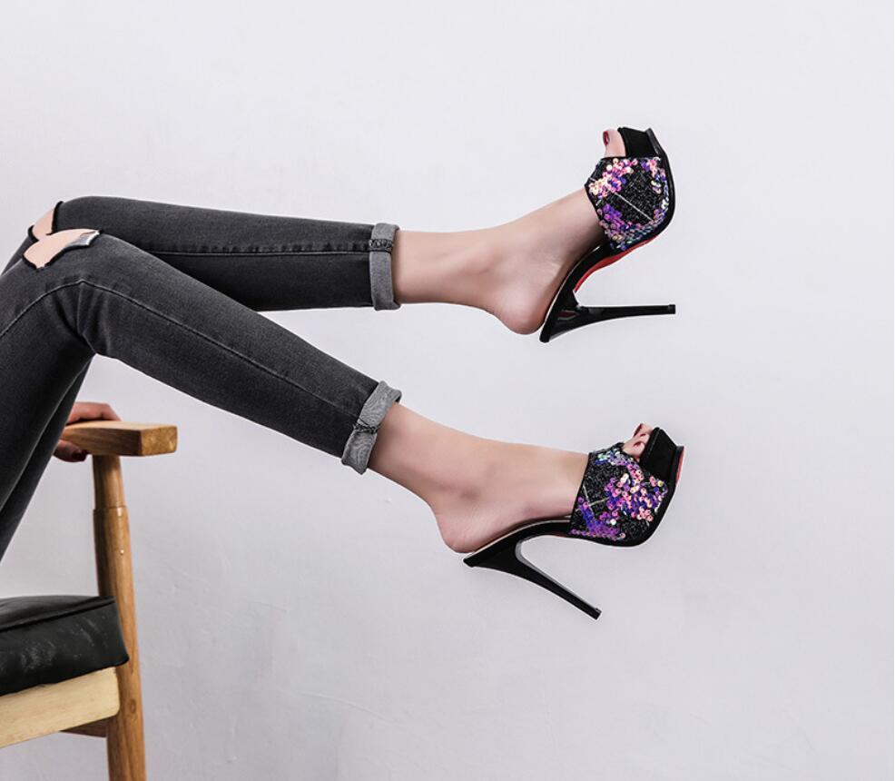 2019 Fashion Peep Toe Women Shoes Thin Heel Slippers Women Summer High Heel 12CM Platform Female Slippers  Outdoor Ladies Shoes