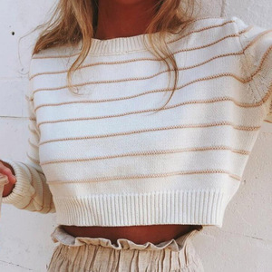 2020 Autumn Outfits Women Knitted Sweater O-Neck Long Sleeve Casual Short Knitted Top Female Striped Pullovers Ladies Pull Femme
