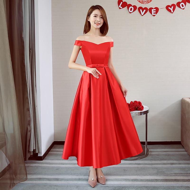 Off The Shoulder Taffeta Long Dresses For Wedding Party Vestido Azul Marino Red Bridesmaid Dress Sexy Prom Wedding Guest Dress