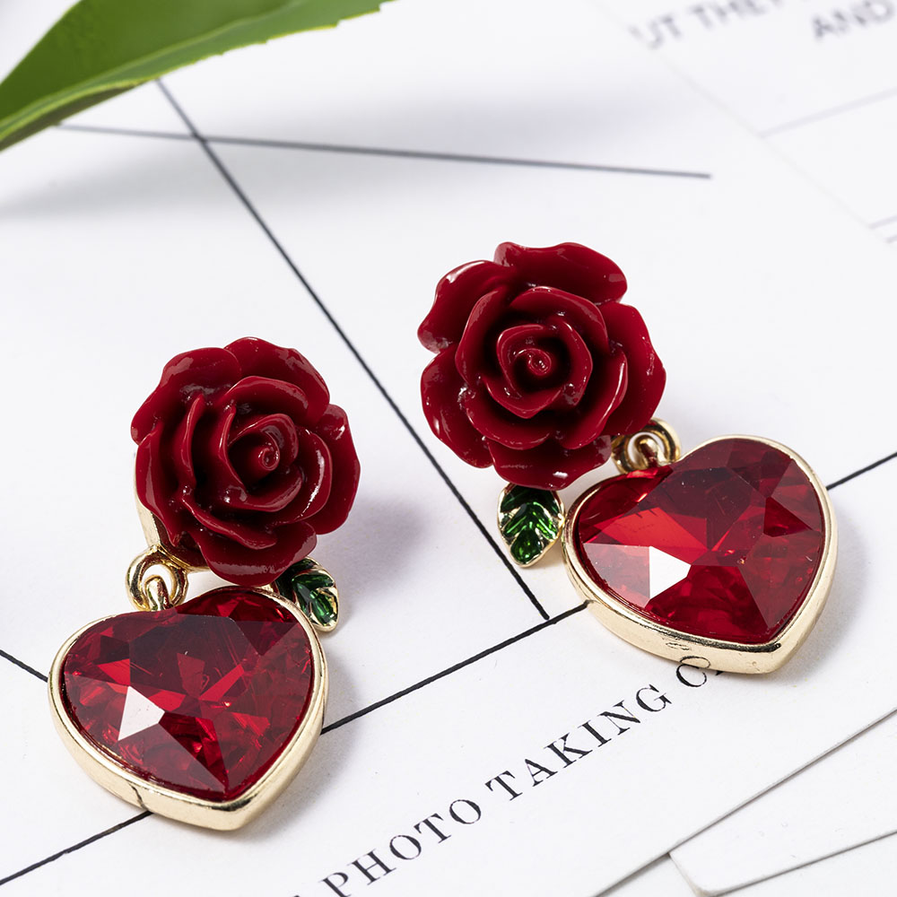 Fashion Jewelry Elegant New Arrival Red Color Rose Design Creative Lovely Memorable Heart Pendant Earring For Girls