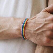 Новые плетеные радужные браслеты Ins, ЛГБТ, геи, бисексулы, плетеные браслеты для женщин и мужчин, парные модные ювелирные изделия, подарок