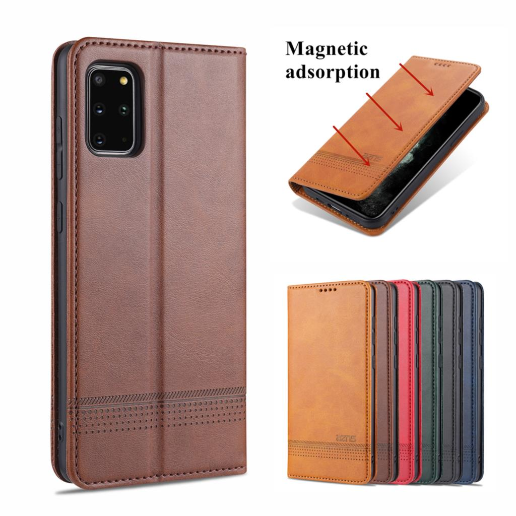 Magnetic adsorption leather phone case for Samsung Galaxy S21 S20 Plus Ultra FE S10 s9 S8 Plus Flip Cover Protective Case fundas