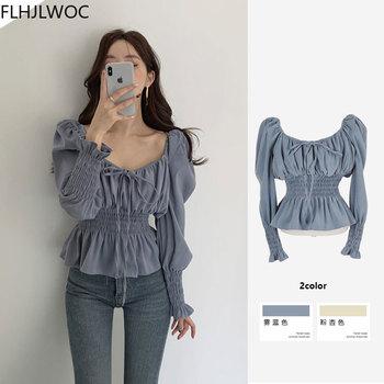 Chic Korea Off Shoulder Tops Blusas Women 2021 Spring Solid Color Bow Tie Slim Waist A Line Belly Peplum Short Shirts Blouses 1
