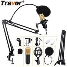 Travor micrófono condensador para estudio profesional, 3,5mm, con cable, Karaoke, grabación Vocal, para ordenador, estudio de grabación