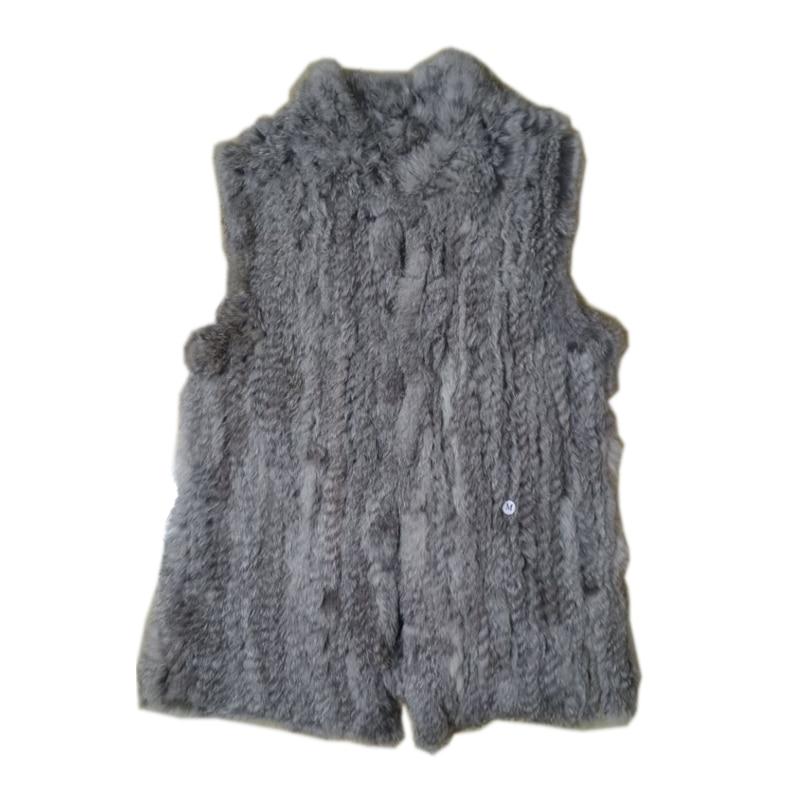 Real Fur 2020 Lady Fashion Genuine Knitting Rabbit Fur Vest Waistcoat  Women  Natural Fur Vest  Gilet Outerwear Vest