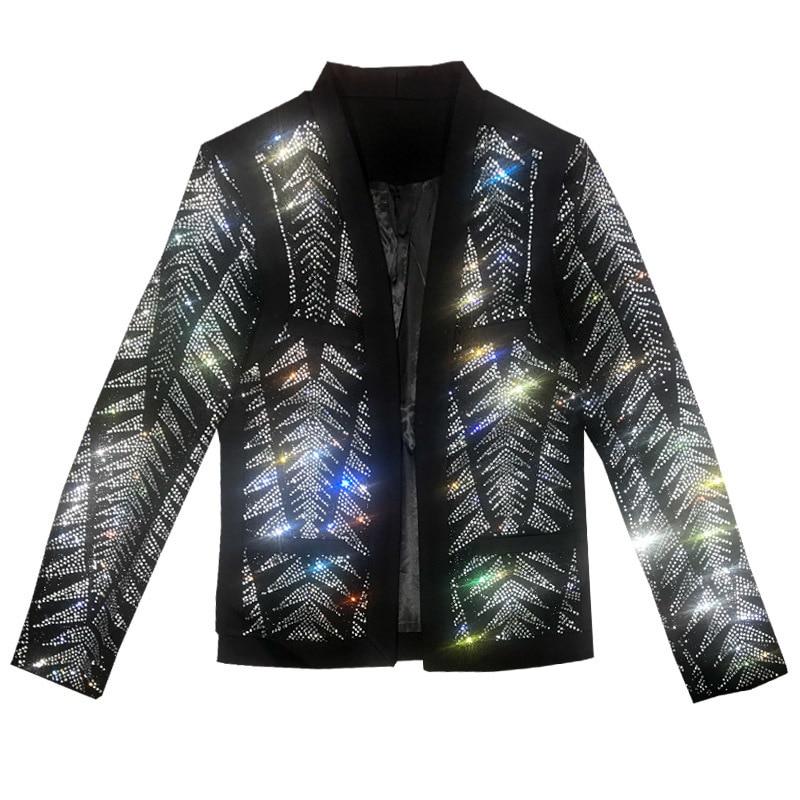 Luxury Rhinestone Fancy  Party Blazer Masculino Slim Fit  Singer Host  Drilling Man's Suit Jacket Evening Prom Stage Blazer