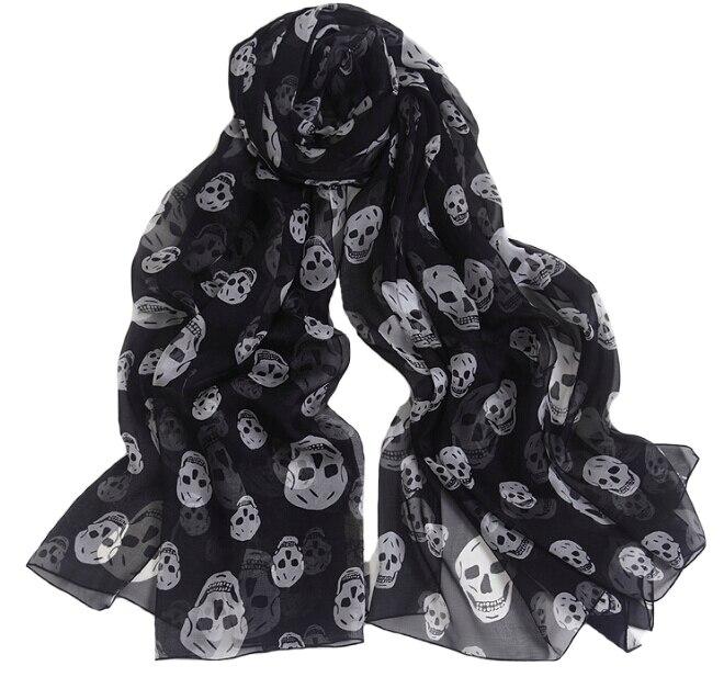 Long Silk Woman Scarf Fall Skull Print Black And White Silk Winter Warm Shawl Soft Muslim Pashmina Wraps