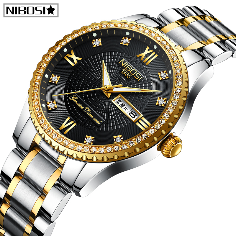 NIBOSI Lovers Quartz Men Watch Women Watch Relogio Feminino Top Brand Luxury Women Watch Gold Quartz Gift Clock Dress Wristwatch