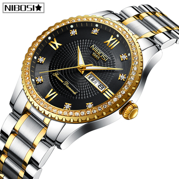 цена на NIBOSI Lovers Quartz Men Watch Women Watch Relogio Feminino Top Brand Luxury Women Watch Gold Quartz Gift Clock Dress Wristwatch
