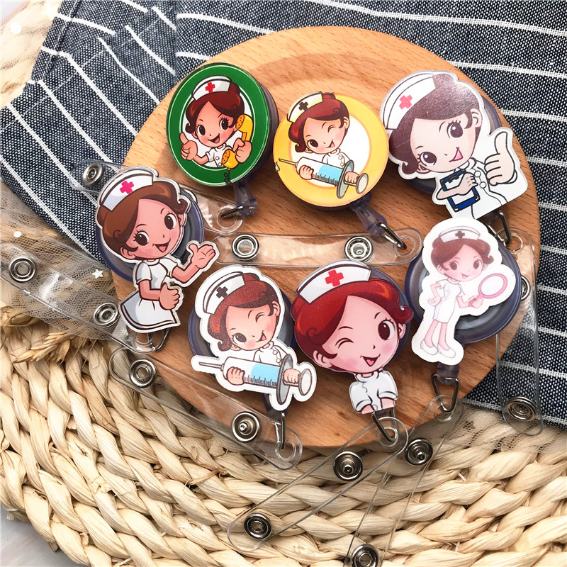 1Pcs New Arrival Top Quality Retractable Doctor Nurse Badge Reel Pretty Girl Cartoon Cute Students ID Card Badge Holder Clips