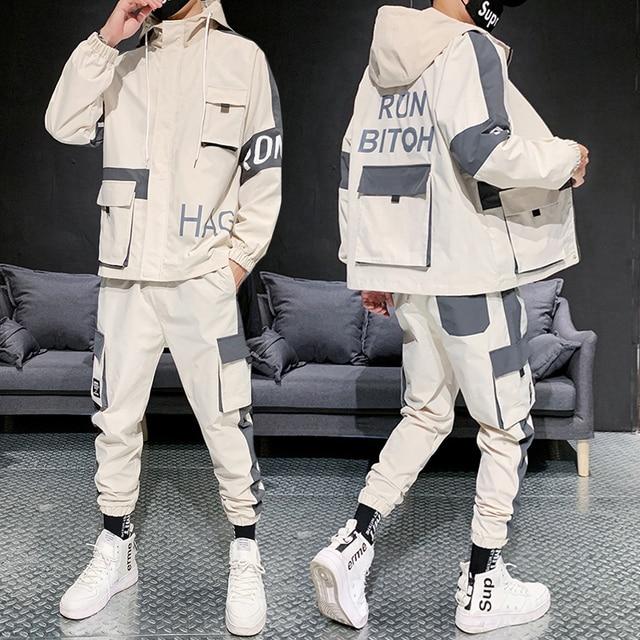 Hip-hop Suit Male Set Track Suits Sweatsuit Man Tracksuit Mens Set Pant Zipper Pockets Outwear 2PC Jacket+Pants Sets 2021 New 4