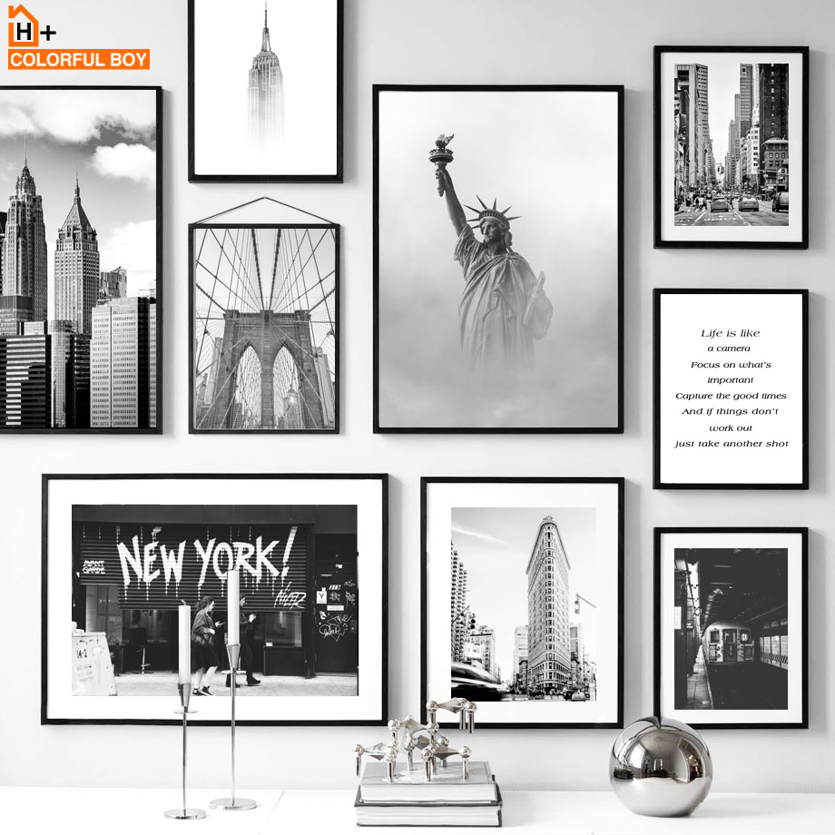 New York Statue Of Liberty Black White Nordic Posters And Prints Wall Art Canvas Painting Wall Pictures For Living Room Decor