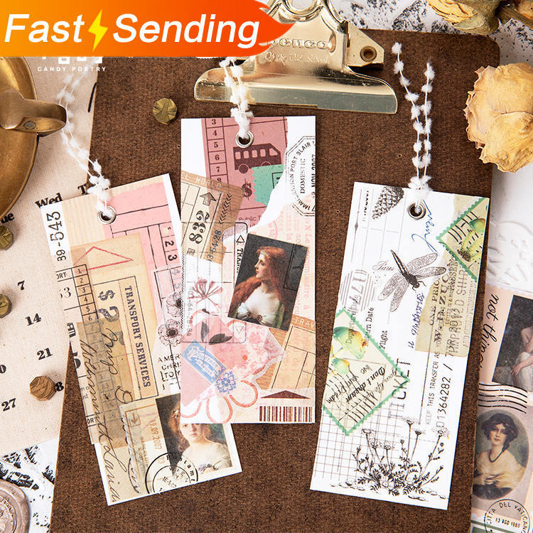 3pcs/set 4X35CM Retro Stamps Washi Tape Antique Plant And Flower Stickers Scrapbook DIY Bullet Journal Sticker Kawaii
