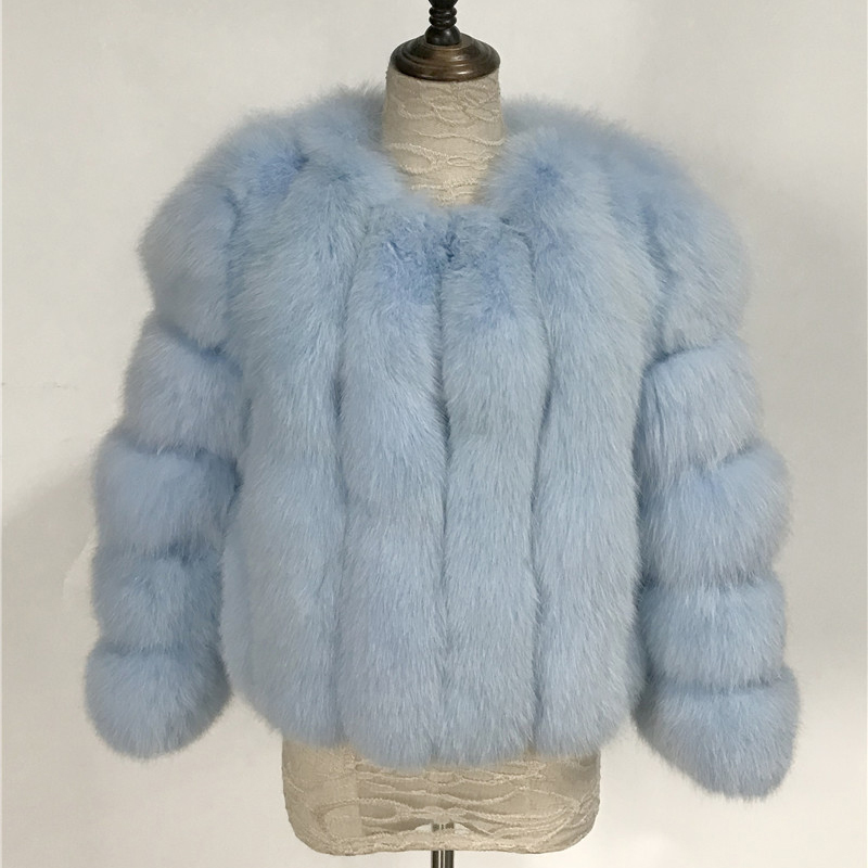 Image 3 - Fashion Silver Fox Real Fur Coat Thick Warm Blue Fox Womens Coats 2019 Winter Whole Skin Natural Fur O Neck Elegant Costumereal fox fur coatblue fox fur coatfox fur coat -