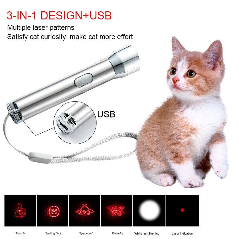 3 в 1 Мини Портативный несколько лазерным узором зарядка через USB лазерный трусики Кот ручка Кошка, фонарик Головоломка Кошка, игрушка