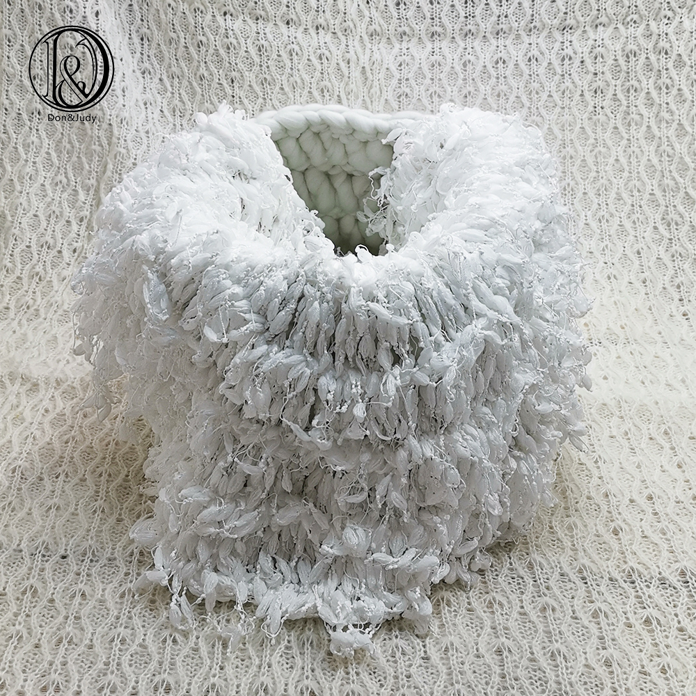 Don&Judy Hand Crochet Round Blanket + Basketry +150x100cm Fabric Backdrop Set Newborn Blanket Background For Photo Shoot Prop