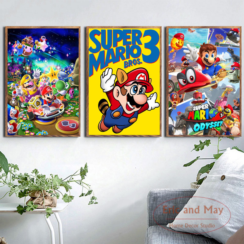 Super Mario Video Game Hot Art Painting Vintage Canvas Poster Wall Home Decor