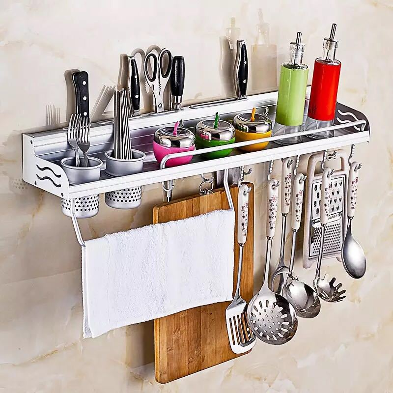 Manufacturers Straight Hair Alumimum Kitchen Shelves Kitchen Hanger Knife Rest Wall Hangers Multi-functional Spice Rack A Genera