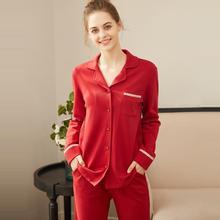 red Sets Style Women Sleepwear Suit Home  Female Sexy fashion homewear Pajamas Long sleeve cotton
