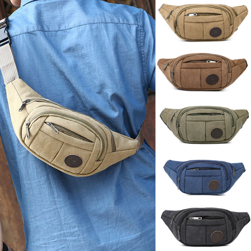 Mens Military Cycling Waist Fanny Pack Bum Belt Bag Pouch Travel Hip Sports Outdoor Canvas Mobile Pocket Storage Waist Packs