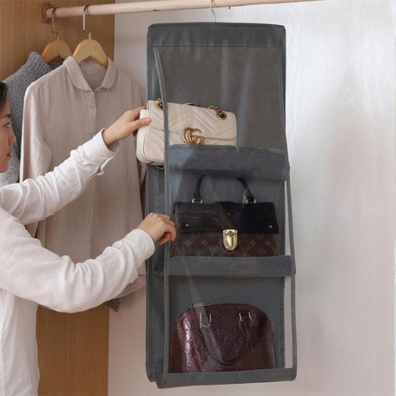 6 Pocket Handbag Organizer Transparent Storage Bag Wardrobe Closet Dustproof Door Wall Sundries Pouch with hook
