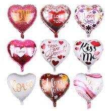 Balões em forma de coração, 1 peça de 18 polegadas, balões de alumínio metálicos para casamento, dia dos namorados, gás hélio, globos decoração de festa,
