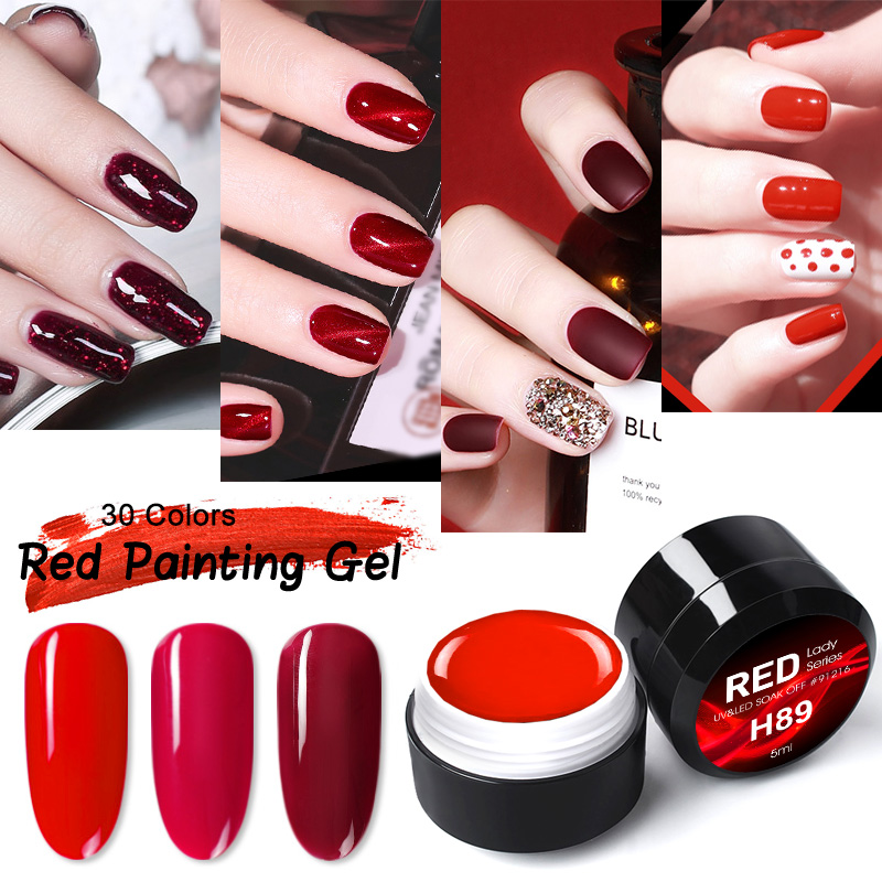 2020 New Arrival GDCOCO Luxury Red Series Nail Gel Varnish Nail Salon Painting Gel Draw Gel Soak Off UV LED Nail Lacquer
