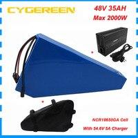 2000w 48 v 35ah bicicleta elétrica bateria 48 v triângulo bateria de íon de lítio com saco uso ncr18650ga 3500mah célula 50a bms 5a carregador