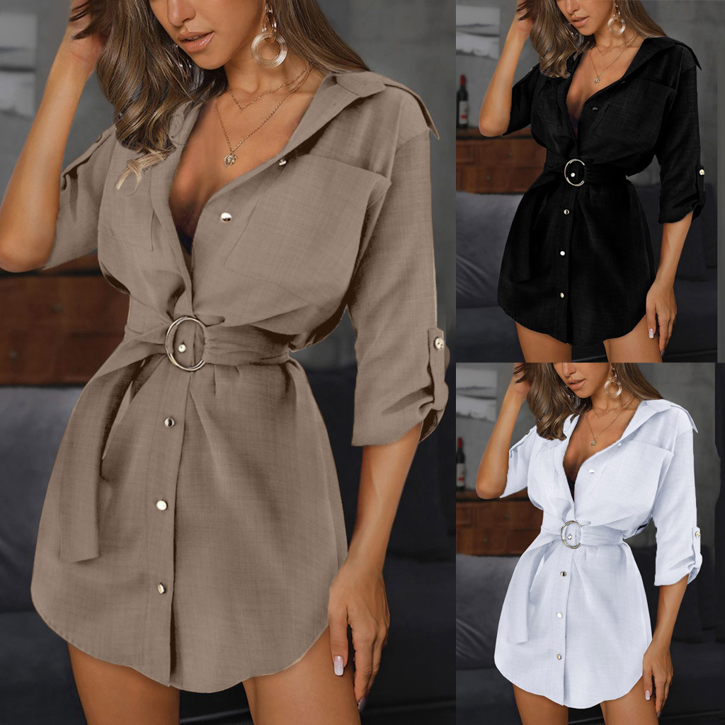 Women Autumn Long Sleeve Mini Dresses OL with Belt Casual Work Plain Shirt Tops Sexy Brief
