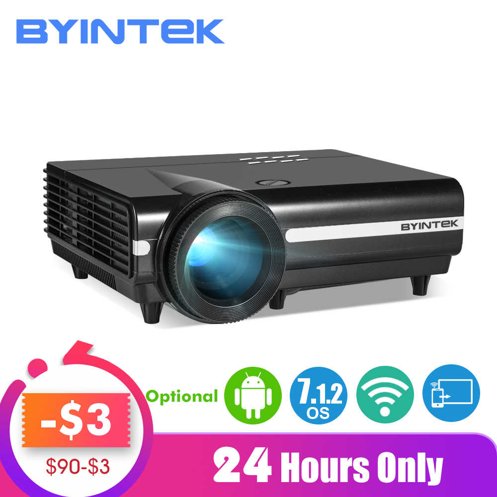 BYINTEK MOON BT96Plus Android Wifi inteligentne wideo 1080P projektor led do obsługi kina domowego Full HD 4K wideo do Netflix