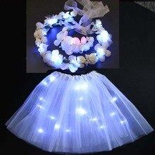 Для женщин и девочек; сказочная принцесса; Цветочная корона; венок; повязка на голову; светильник; юбка-пачка; Свадебная светящаяся светодиодная праздничная одежда; подарок на день рождения; navidad; Рождество