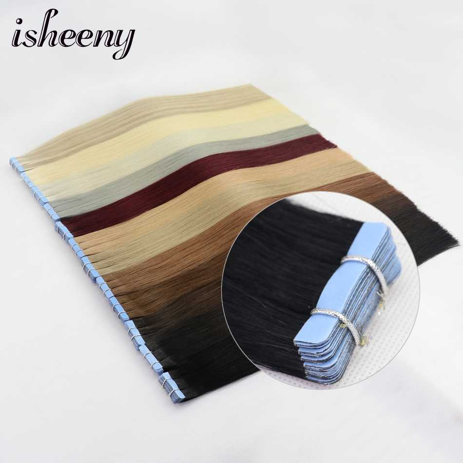 "Isheeny Remy Human Hair Tape Extensions 12"" 14"" 16"" 18"" 22"" Skin Weft Seamless European Hair Samples For Salon Hair 20pcs"