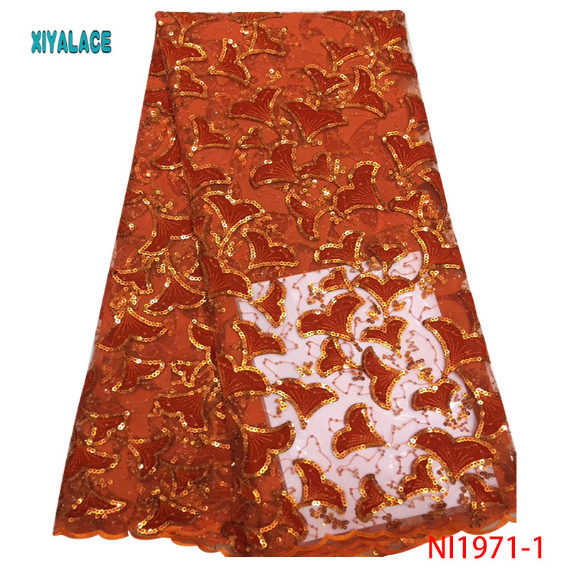 2019 Nigerian African Lace Fabric High Quality French Organza Sequins Lace Fabric Velvet Fabric Lace Fabrics Wedding YANI1971-1