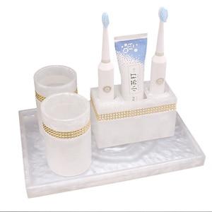 Image 3 - Luxury Nordic Rhinestone Resin Bathroom Accessories Set Tray Emulsion Bottle Hand Sanitizer Soap Dispenser  Toothbrush Holder