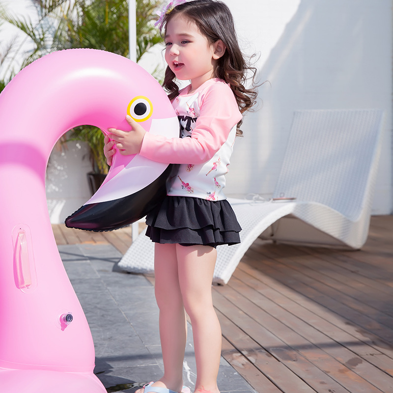 New Style South Korea KID'S Swimwear Barbie Infants Baby Girls Two-piece Swimsuits Long Sleeve Medium-small GIRL'S Swimsuit