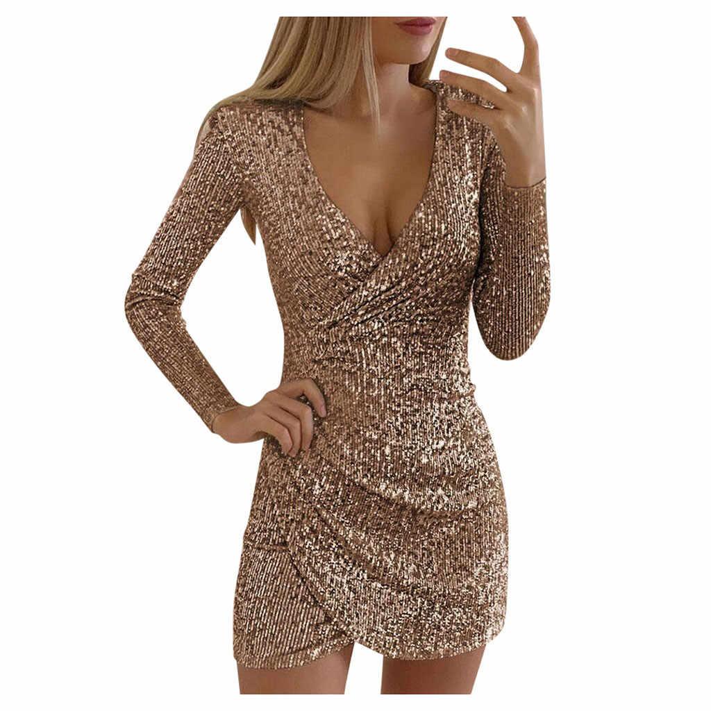 Mujeres desnuda Sexy lentejuelas ceñido Mini Vestido cuello en V auto cultivo vestidos damas delgadas y elegantes Vestido de fiesta de noche