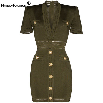 HarleyFashion 2020 Fashion Summer Trendy Solid Army Green Fitness Dress Buttons V-neck Skinny Straight High Street Mini Dresses