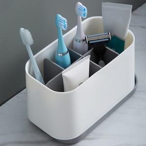 Freestanding Toothbrush Holder Modern Detachable Multi Slot Multifunctional Bathroom Accessories Toothpaste Storage Easy Clean