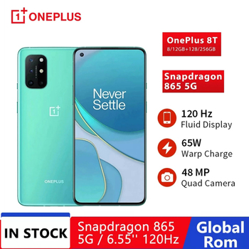 OnePlus 8T 8GB 128GB Snapdragon 865 5G Smartphone Global ROM Rom 6.55' 120Hz 65W Warp Charge 48MP NFC Mobile Phone 1