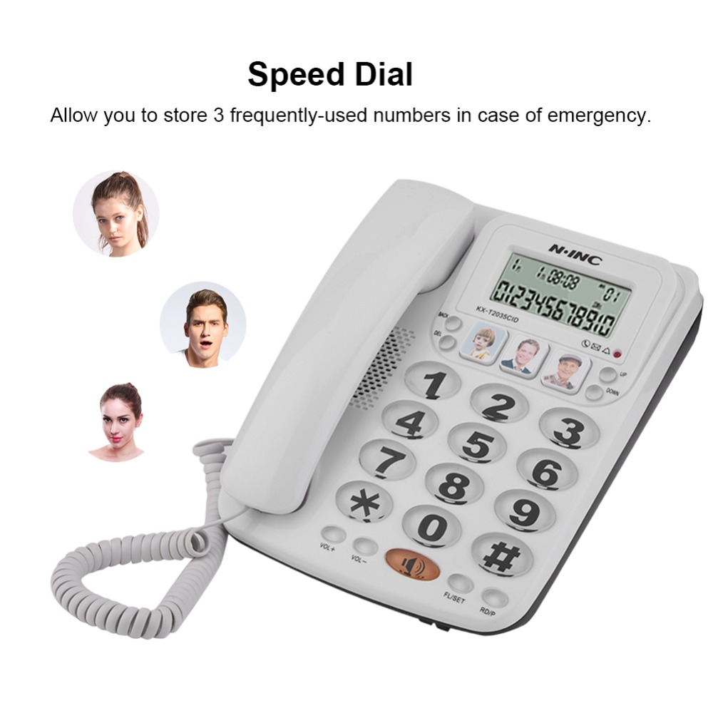 2-line Corded Phone With Speakerphone Speed Dial Landline Telephone Home Office Hotel Without Battery Fixed Phone Call ID