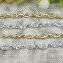 1M High Quality Gold Lace Fabric Guipure Curve Ribbon Applique Silver Lace Trim White Black Laces Sewing Trimmings dentelle L-09(China)