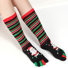 Women socks snowman black and red striped  pattern and odor-proof Christmas five-fingered socks toe funny socks for girls happy socks 8in1 cat stain and odor exterminator nm jfc s