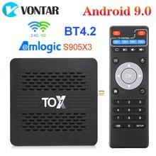 Tox1 amlogic s905x3 android 9.0 caixa de tv inteligente 4gb ram 32gb duplo wifi 1000m 4k suporte youtube dolby atmos áudio conjunto caixa superior