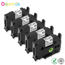 Oozmas 5p Compatible for brother TZe111 TZe-111 TZ111 Laminated label tape Black on Clear Brother P-touch Label Makers