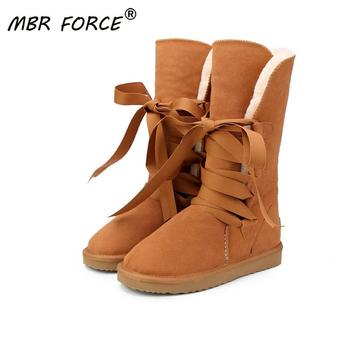 MBR FORCE Australia Classic High  Snow boots Women Genuine Cowhide Leather Lace up Long Fur Warm Winter Boots - discount item  45% OFF Women's Shoes