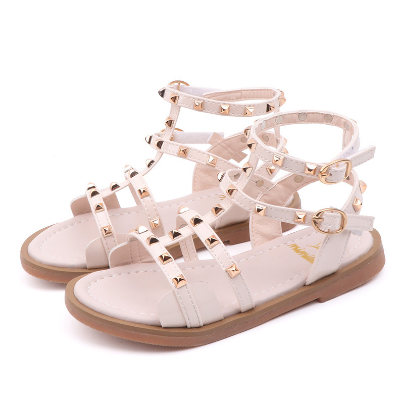2020 Summer Children Princess Flat Shoes Children Girls Rivets Single Shoes Kids Leather Shoes Girls Shoes Sandals Size 26-36