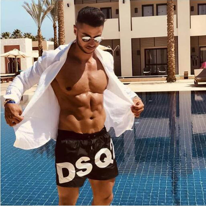 DSQ2 Summer Fashion Leisure Sports Polyester Quick-Drying Three-Point Shorts Men's Beach Outdoor Fitness Jogging Sports Shorts